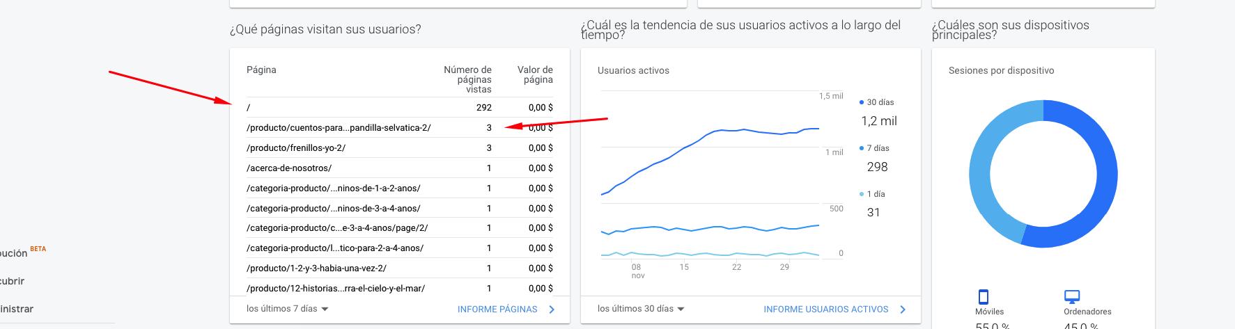 demanda de un sitio web en google analytics